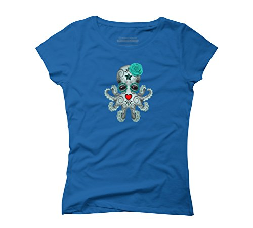 Blue Day of the Dead Sugar Skull Baby Octopus Women's Graphic T-Shirt - Design By Humans Royal Blue