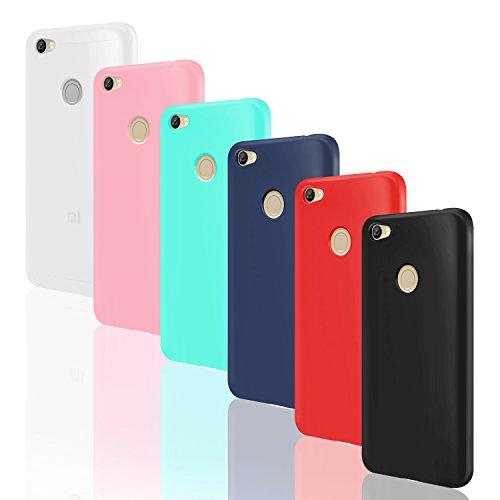 6x Funda Xiaomi Redmi Note 5A Prime, Leathlux Carcasas 6 juntas Ultra Fina Silicona TPU Gel Protector Flexible Colores Case Cover para Xiaomi Redmi Note 5A Prime - Blanco Rosa Verte Azul Rojo Negro