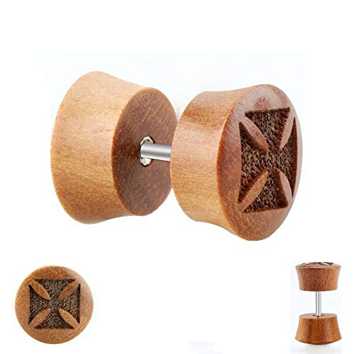 Piercing Fake Plug - Holz - Braun - Kreuz [1.] - 8 mm