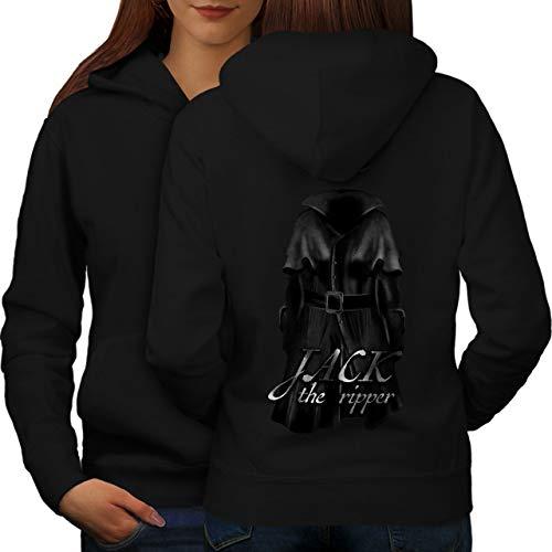 Kostüm The Damen Ripper Jack - wellcoda Jack Ripper Killer Frau Kapuzenpullover Tod Aufdruck auf Rückseite