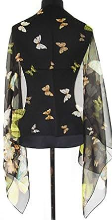 Prettystern - 165cm langer Schal 100% Seide leicht Chiffon Seidenschal tanzende Schmetterlinge - schwarz