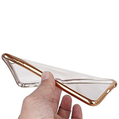 OKCS Coque - pour Apple iPhone 6, 6s Etui Crystal Clear Housse de Protection Case Cover avec bord couleur Bumper - en Gris Rose Or