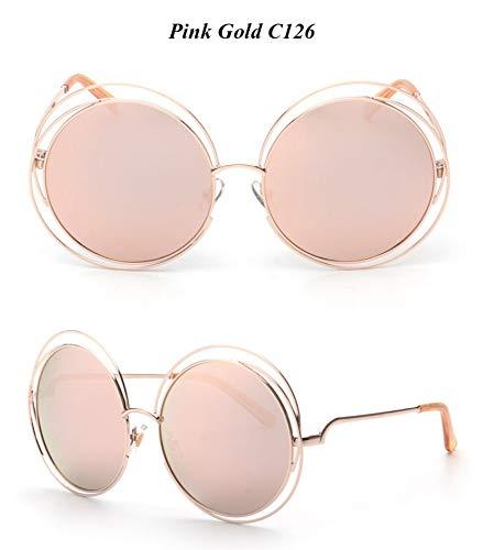 WDDYYBF Sonnenbrillen, Casual Comfort Runde Wire Frame Beschichtung Intage Fgrayion Sonnenbrille Frauen U 400 Rosa Linse