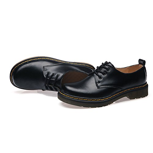 Shenn Femme Low Top Round Toe Robe formelle Rétro Oxfords Cuir Chaussures de ville à lacets Noir