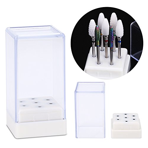 Yuyte 7 Holes Nail Drill Heads Bits Holder Organizer Box Container for Nail Grinding Heads Display -