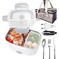 Boîte à lunch chauffante,Boîte à Repas 40w avec Cuillère et Deux Compartiments,Lunch Box Chauffante Électrique 2 en 1…