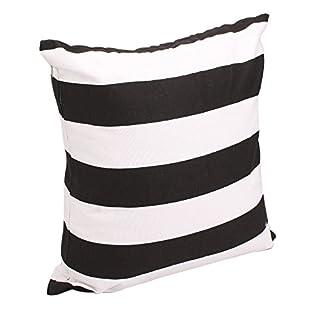 Advogue Kissenbezüge 45x45cm Weißer Streifen Kissenhülle Sofakissen Kissenbezug mit Reißverschluss (Schwarz)