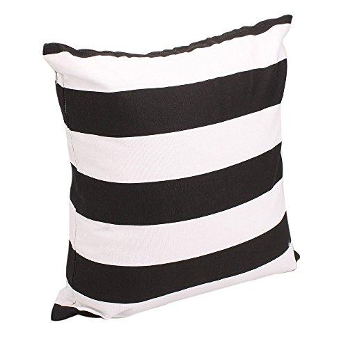 Advogue Kissenbezüge 45x45cm Weißer Streifen Kissenhülle Sofakissen Kissenbezug mit Reißverschluss (Schwarz) (Akzent-kissen, Schwarz Und Weiß)