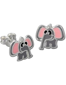 SterlinX Kids - Ohrstecker mit Emaille-Lack - rosa-grauer Elefant - für Kinder aus 925er Sterling Silber - D1SDO8107K