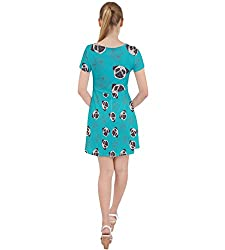 CowCow Womens Dogs Pug Pet Caught In Web Lace Up Front Casual Dress