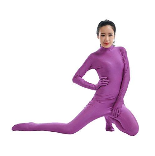 (CHENGYANG Spandex Zentai Catsuit Halloween Cosplay Bodysuit Leistung Kostüm Unitard Violett S)
