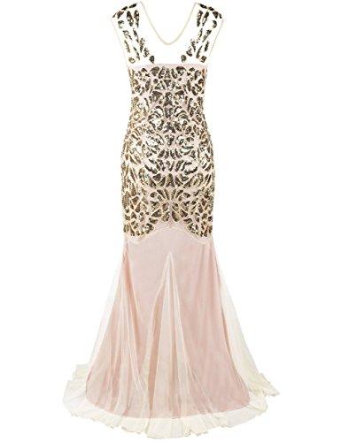 Kayamiya Damen Gatsby Kleid 1920er Perlen Pailletten Maxi Lange Charleston Meerjungfrau Abendkleid 32-34 Gold Beige - 3