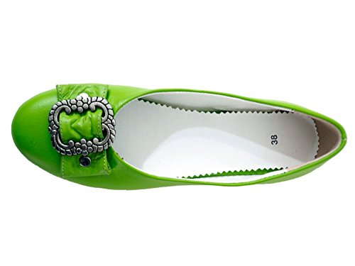 Chaussures femme Costume traditionnel Dirndl Chaussures Trachten Ballerines véritable cuir nappa Premium, vert Vert - Vert