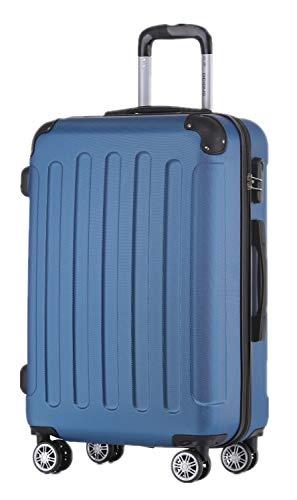 BEIBYE Hartschalen-Koffer Trolley Rollkoffer Reisekoffer Handgepäck 4 Rollen (M-L-XL-Set) (Blau, XL)