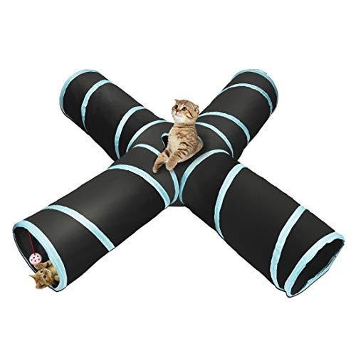 Aotletes Katzentunnel Katzenspielzeug 4-Wege Katze Tunnel Pet Cat Play Tunnel Tube zusammenklappbar Kätzchen Spielzeug Spiel Tunnel für Katzen/Welpen/Kaninchen, Indoor und Outdoor