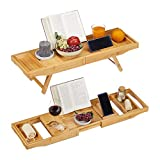 Relaxdays 2in1 Bamboo Bathtub Caddy & Serving Tray, Bookstand, Wine Holder, Bathroom Stand, 74.5-114 cm, Extendible, Natural