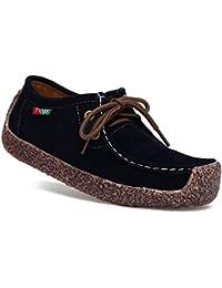 Gtagain Donne Fannulloni Pelle Guidare Mocassini - Signore Lace-Up Abbigliamento  Casual Barca Scarpe Le b27a696f695