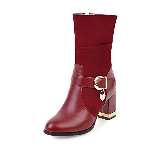VogueZone009 Donna Luccichio Punta Chiusa Tacco Alto Fibbia Puro Stivali Rosso