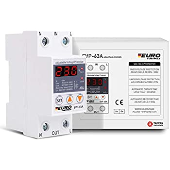 Euro Automatic Adjustable Over & Under Voltage Protector with Auto Recovery Switch - Taiwanese Excellence - Voltage Meter - Din Rail Mount - Single Phase - 63Amps 220V