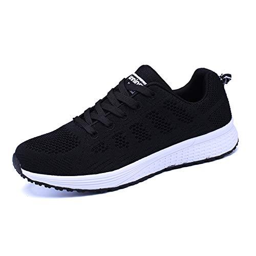 Lanchengjieneng Mujer Entrenador Zapatos Gimnasio Deportes atléticos Zapatillas de Deporte Malla Informal Zapatos para Caminar Encaje Plano Negro EU 42