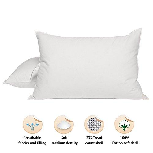 Puredown lujo de pluma de ganso blanco y almohadas de plumón, medio/firme apoyo, funda 100% algodón, pack de dos, 19* 29'
