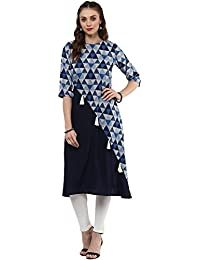 [Sponsored Products]Janasya Women's Navy Blue Printed A-line Kurta