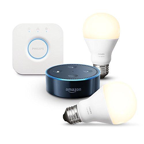 Amazon Echo Dot (2ème génération), Noir + Kit de démarrage Philips Hue White E27 (2 ampoules + pont de connexion Hue)