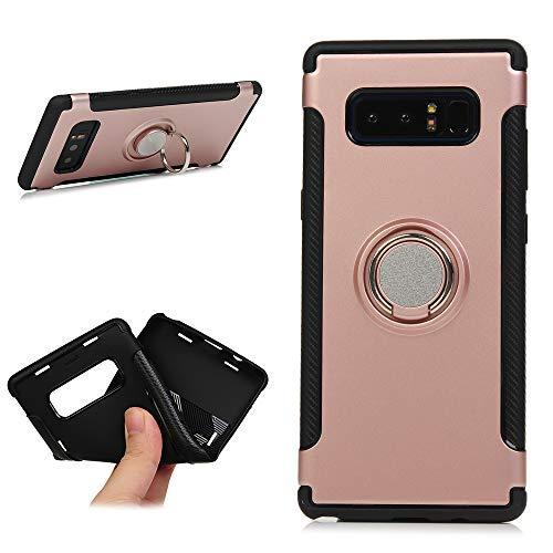 2 in 1 Handyhülle Für Galaxy Note 8 Haltbares TPU Back Cover mit Stoßfest 360 Grad drehbarer Ring Kickst Schutz Einfachen Stil Design Bumper