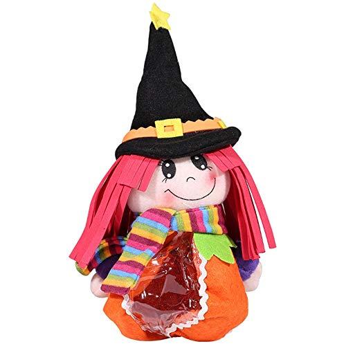 Halloween Kids Dress Up Toy Zubehör Tragbare Cartoon Hexe Süßigkeiten Reißverschluss Tragetasche (Rosa, A)