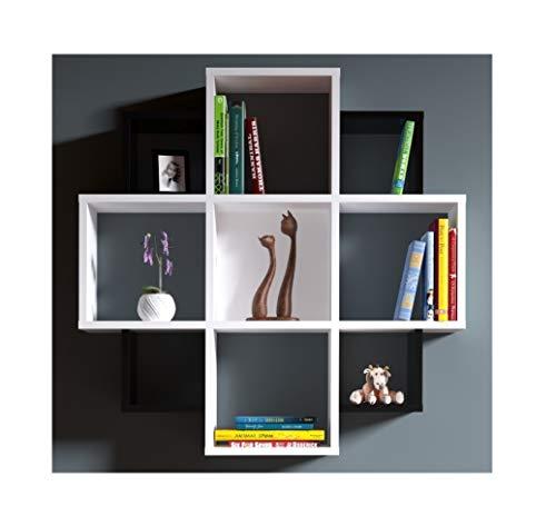 Homidea Bloom Mensola da Parete - Bianco/Nero - Libreria - Mensola da  Appendere - Mensola Decorativa per Soggiorno in Design Moderno.