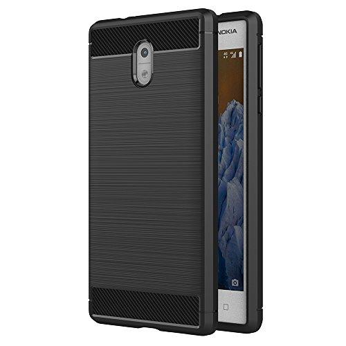 Aicek cover nokia 3, nero custodia nokia 3 silicone molle black cover per nokia 3 soft tpu case (5.0 pollici)