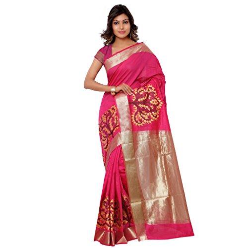 Varkala Silk Sarees Women's Cotton Banarasi Saree With Blouse Piece(DM2105RN_Pink_Free Size)