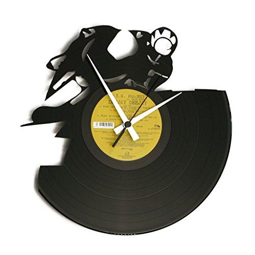 Disc'O'Clock Orologio in Vinile da Parete LP 33 Giri Silenzioso - Full Throttle - Idea Regalo A Tema Moto GP, Valentino Rossi