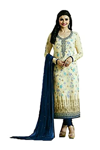 Fashions Biz Straight Cut Style Astounding Salwar Kameez in Cream Georgette Fabric 84106