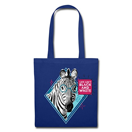 Spreadshirt Animal Planet Zebra Black And White Spruch Stoffbeutel, Royalblau -