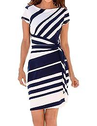 CUTUDE Kurzarm Minikleid Damen Kleid Strandkleid Kleider Working Bleistift  Streifen Party Casual Mini Rot Schwarz Blau b7f9a4c5c9