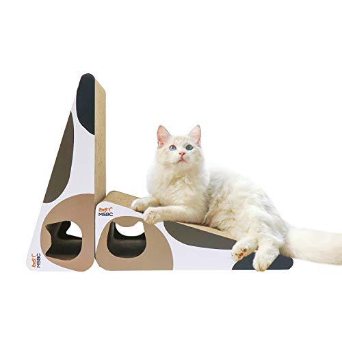 MSBC Katzenkratzbaum Carboard Dreieck Form 2er-Set mit Katzenminze, Katzenklatze Kratzmatte Recycle Wellpappe Kratzbaum Katzenliege Langlebig wendbar Vertikal