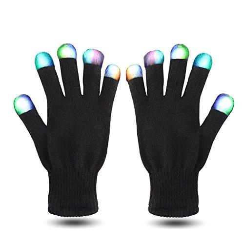 VENI MASEE LED Skelett Handschuhe Fingerspitzen bunt Rave Handschuhe 6 Modus 9.64 inch (24.5 cm) (schwarz/rot/Skeleton) (Light Up Rave Handschuhe)