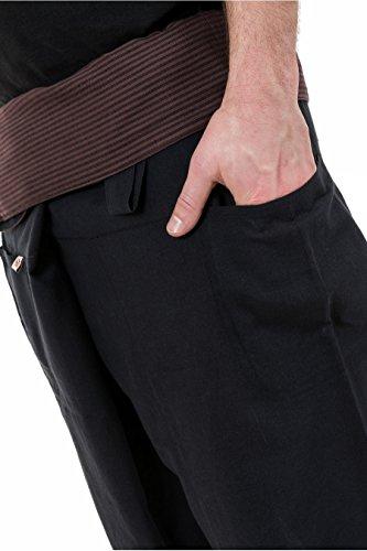 - Pantalon court thai fisherman ceinture rayures chocolat Khaleta - Noir