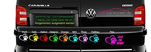 MS Car Sticker Hundenamen Auto Aufkleber Hundename/en mit Textgenerator selbst gestalten mit Vorschau