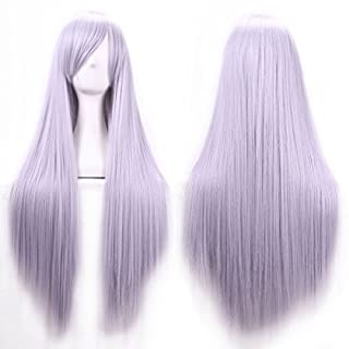 Womens Ladies Girls 80cm Light Grey Color Long Straight Wigs High Quality Hair Carve Cosplay Costume Anime Party Bangs Full Sexy Wigs