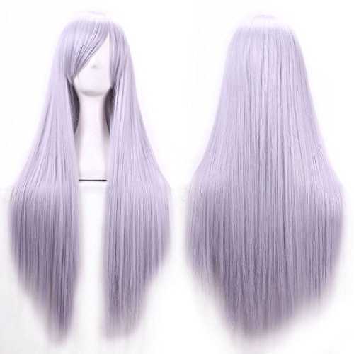 Damen Mädchen 80cm Licht Grau Farbe Lange Gerade Perücken Hohe Qualität Haar Carve Cosplay Kostüm Anime Party Pony Full Sexy ()