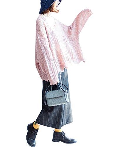 Youlee Femmes Hiver Automne Lâche pull en coton Style 1 Rose