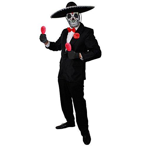 ILOVEFANCYDRESS Deluxe Day of The Death=Rosa MARRACAS+Sombrero+Sugar Skull MASLE =Tag der Toten KOSTÜM Verkleidung=Halloween= Medium (Paare Halloween-kostüm Skull Sugar Für)