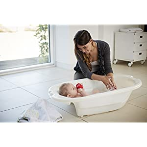 Mamas & Papas Acqua Bambino Two Stage Bath with Safety Support Positions for Newborn Baby to 12 Months – Pearl White