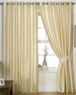 Charisma Faux Silk Curtains, Lined Eyelet Curtains, Ready Made Ring Top Pairs, Free Tie Backs (90