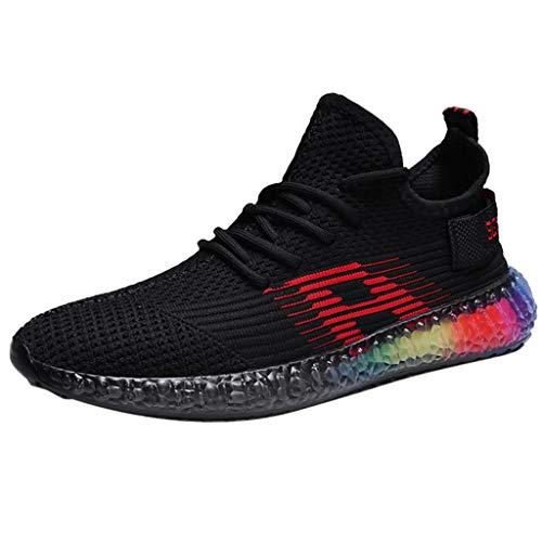 LILIHOT Mode Regenbogen Geleesohlen Männer Turnschuhe Outdoor Fly Knit Breathable Männer Schuhe Herren Sneaker Laufschuhe Leichte Atmungsaktiv Mode Lässig Sneaker