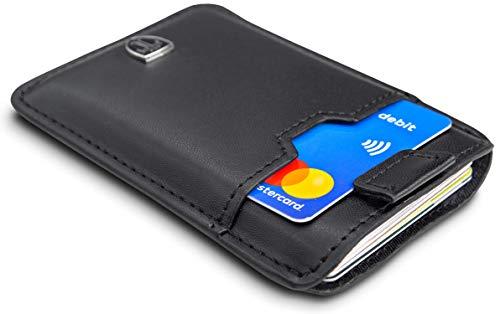 TRAVANDO  Tarjetera con SEGURIDAD RFID, PROTECCIÓN hasta 12 tarjetas (Crédito) - Billetera Fina - Pinza para Billetes - Cartera Pequeña - Estuche para Hombres