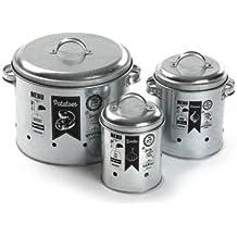 Versa 10370332 Set de 3 Boites métal avec illustration gris