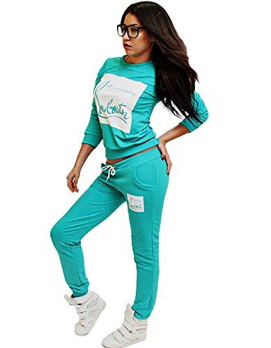 Cravog Femmes Sweat-shirts Manches Longues+ Pantalons Sport Deux Pièces Ensemble Survêtement Imprime Vert